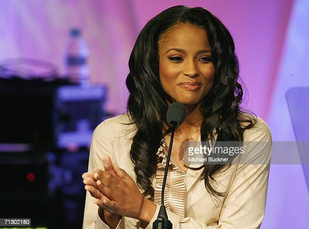 Singer/hostess Ciara speaks at the 19th Annual ASCAP Rhythm Soul Music Award Show at the Beverly Hilton Hotel on June 26 2006 in Los Angeles...