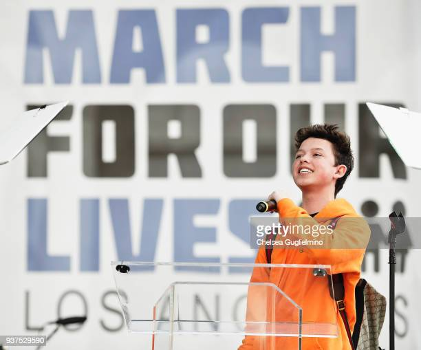 Singer/internet personality Jacob Sartorius speaks at March For Our Lives Los Angeles on March 24 2018 in Los Angeles California