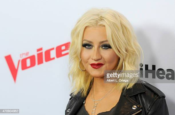 Singer/judge Christina Aguilera arrives for NBC's 'The Voice' Season 8 Red Carpet Event held at Pacific Design Center on April 23 2015 in West...