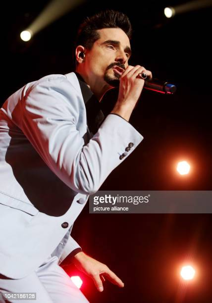 Singer Kevin Richardson performs with the members of the US boy band Backstreet Boys on stage at the O2 Arena concert venue in Hamburg Germany 29...