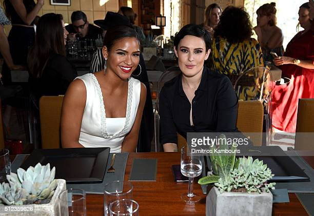Singer/model Cassie Ventura and actress Rumer Willis attend the MAC Cosmetics Zac Posen luncheon at the Ennis House hosted by Karen Buglisi Weiler...