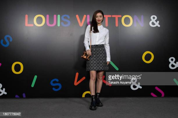 Singer/model Hitomi Kaji attends the 'Louis Vuitton &' exhibition at jing on March 18, 2021 in Tokyo, Japan.