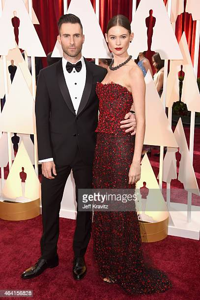 Singer/Musician Adam Levine and model/wife Behati Prinsloo attend the 87th Annual Academy Awards at Hollywood Highland Center on February 22 2015 in...
