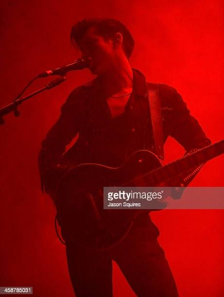 Singer/musician Alex Turner of The Arctic Monkeys performs at Arvest Bank Theatre at The Midland on December 14 2013 in Kansas City Missouri