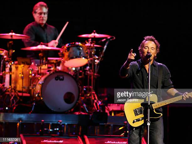 Singer/musician Bruce Springsteen and drummer Max Weinberg perform at Sprint Center on August 24 2008 in Kansas City Missouri