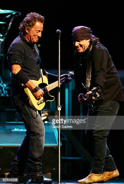 Singer/musician Bruce Springsteen and singer/musician Steven Van Zandt perform at Sprint Center on August 24 2008 in Kansas City Missouri