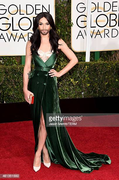 Singer/Musician Conchita Wurst attends the 72nd Annual Golden Globe Awards at The Beverly Hilton Hotel on January 11, 2015 in Beverly Hills,...