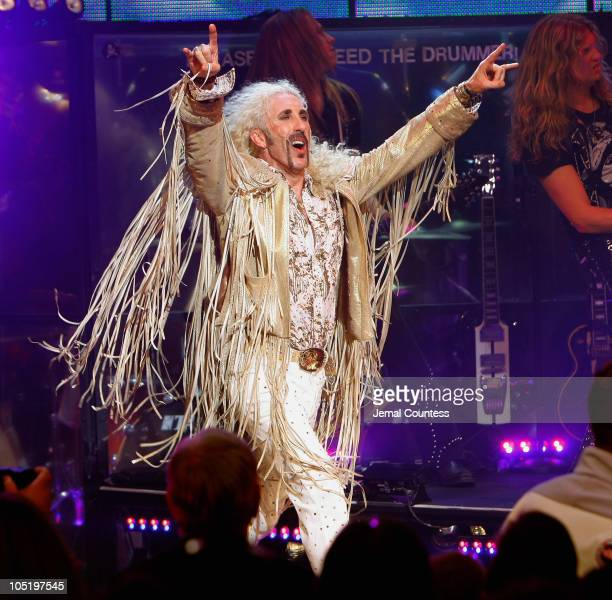 Singer/musician Dee Snider takes a bow during his Broadway debut in Rock of Ages at the Brooks Atkinson Theatre on October 11 2010 in New York City