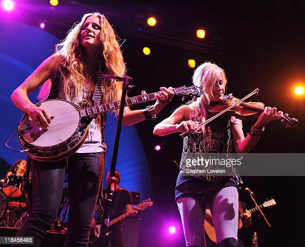Singer/musician Emily Robison and singer/musician Martie Maguire of Court Yard Hounds perform during the 2011 Celebrate Brooklyn concert series at...