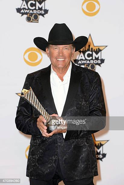 Singer/musician George Strait poses backstage during the 50th Academy of Country Music Awards at ATT Stadium on April 19 2015 in Arlington Texas