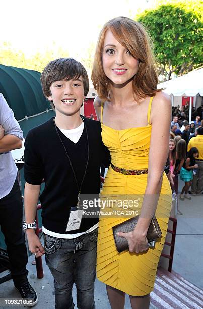 Singer/musician Greyson Chance and actress Jayma Mays arrive at the 2010 Teen Choice Awards at Gibson Amphitheatre on August 8 2010 in Universal City...