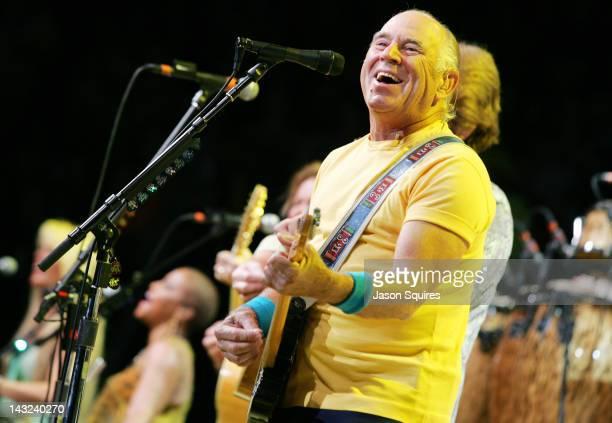 Singer/musician Jimmy Buffett performs at Sprint Center on April 21, 2012 in Kansas City, Missouri.