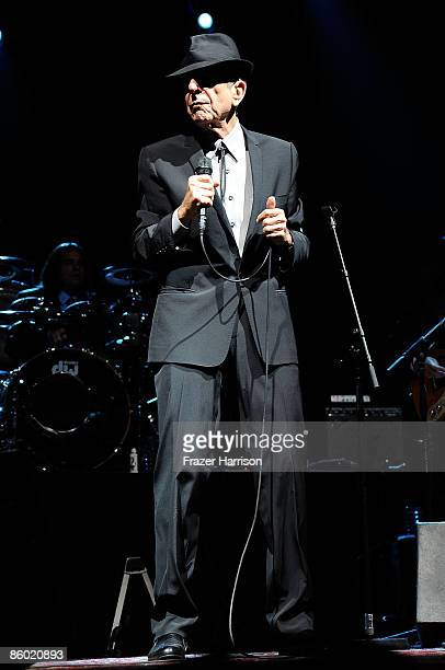 Singer/musician Leonard Cohen performs during day 1 of the Coachella Valley Music Arts Festival held at the Empire Polo Club on April 17 2009 in...