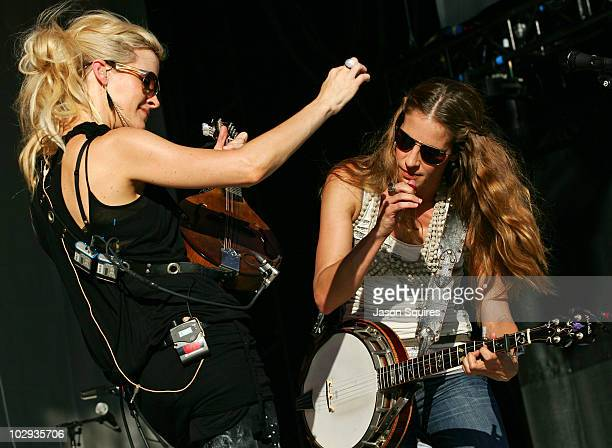 Singer/musician Martie Maguire and singer/musician Emily Robison of Court Yard Hounds perform at the 2010 Lilith Fair at Capital Federal Park at...