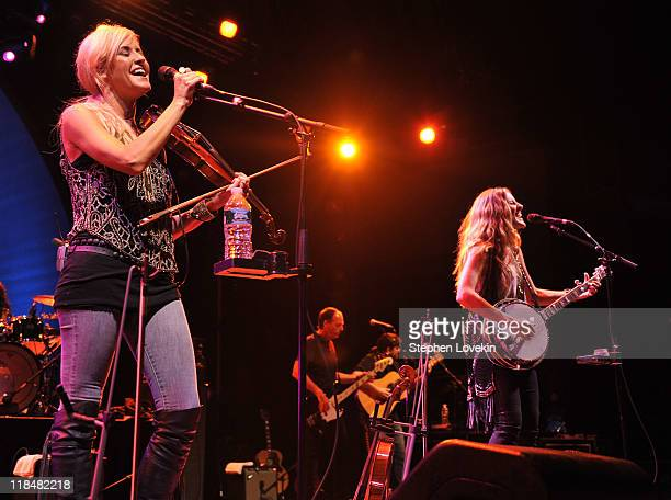 Singer/musician Martie Maguire and singer/musician Emily Robison of Court Yard Hounds perform during the 2011 Celebrate Brooklyn concert series at...
