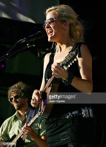 Singer/musician Martie Maguire of Court Yard Hounds performs at the 2010 Lilith Fair at Capital Federal Park at Sandstone on July 15 2010 in Bonner...