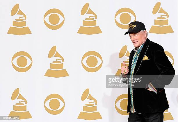 Singer/musician Mike Love of The Beach Boys poses in the press room at the 54th Annual GRAMMY Awards at Staples Center on February 12, 2012 in Los...