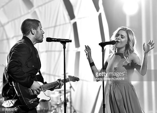 Singer/musician Nick Jonas and singer Kelsea Ballerini rehearse onstage during the 51st Academy of Country Music Awards at MGM Grand Garden Arena on...