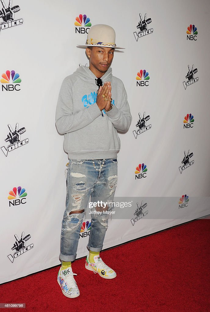 Singer/musician Pharrell Williams attends the NBC's 'The Voice' Season 7 Red Carpet Event held at HYDE Sunset: Kitchen + Cocktails on December 8, 2014 in West Hollywood, California.