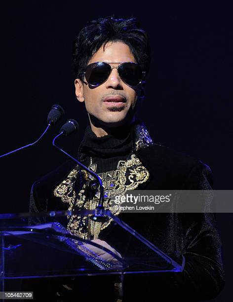 Singer/musician Prince makes an announcement at The Apollo Theater on October 14 2010 in New York City