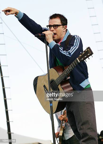 Singer/musician Rivers Cuomo of the band Weezer performs at Dick's Sporting Goods Park on August 15, 2010 in Commerce City, Colorado.
