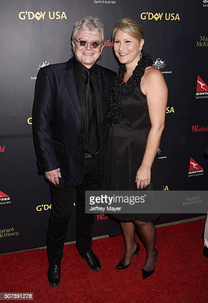 Singer/musician Russell Hitchcock and wife Laurie Hitchcock arrive at the 2016 G'Day Los Angeles Gala at Vibiana on January 28 2016 in Los Angeles...