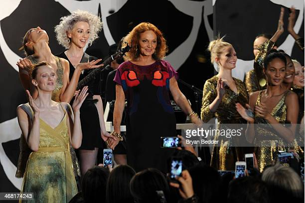 Singer/musician St Vincent and fashion designer Diane von Furstenberg attend the American Express UNSTAGED Fashion with DVF at Spring Studios on...