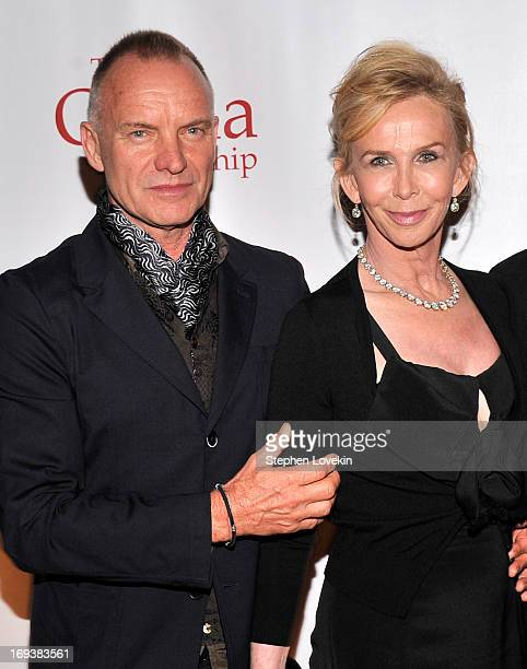 Singer/musician Sting and Trudie Styler attend The 2013 Frederic E. Church Award Gala at New York Public Library on May 23, 2013 in New York City.