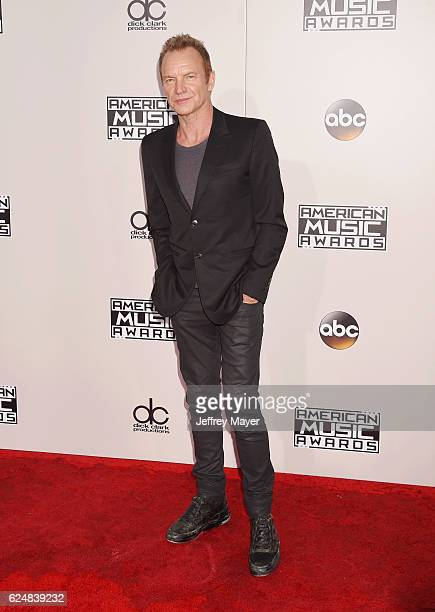 Singer/musician Sting arrives at the 2016 American Music Awards at Microsoft Theater on November 20, 2016 in Los Angeles, California.