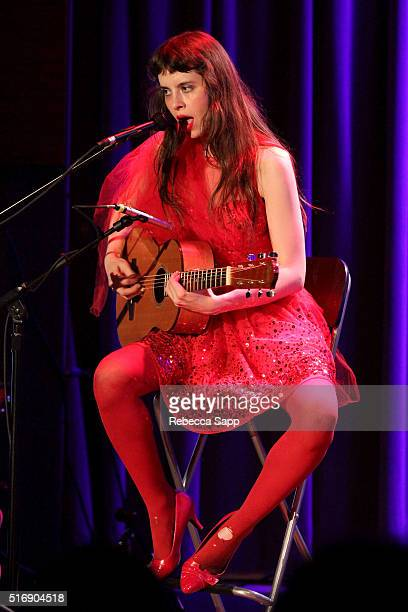 Singer/musician Teri Gender Bender of Le Butcherettes performs at Spotlight Le Butcherettes at The GRAMMY Museum on March 21 2016 in Los Angeles...