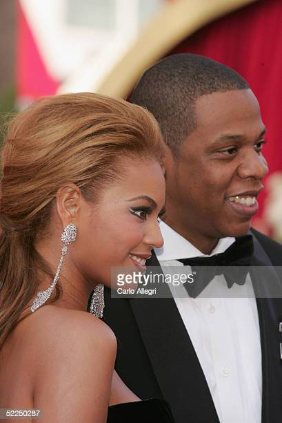 Singer/Performer Beyonce Knowles and Def Jam President JayZ arrive at the 77th Annual Academy Awards at the Kodak Theater on February 27 2005 in...