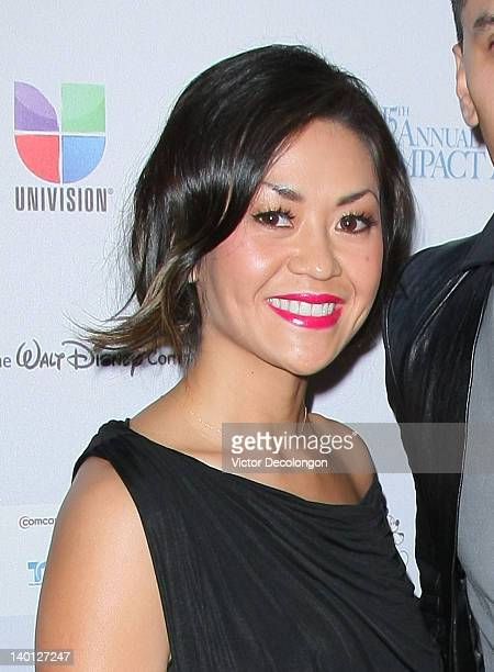 Singer/performer Jaime Taboo Gomez's wife Jaymie Dizon arrives for The National Hispanic Media Coalition's 15th Annual Impact Awards Arrivals at the...