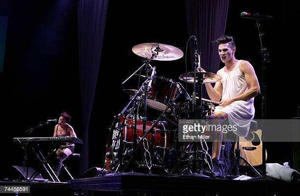 Singer/pianist Amanda Palmer and drummer Brian Viglione from the band The Dresden Dolls perform during the kickoff of the first annual True Colors...