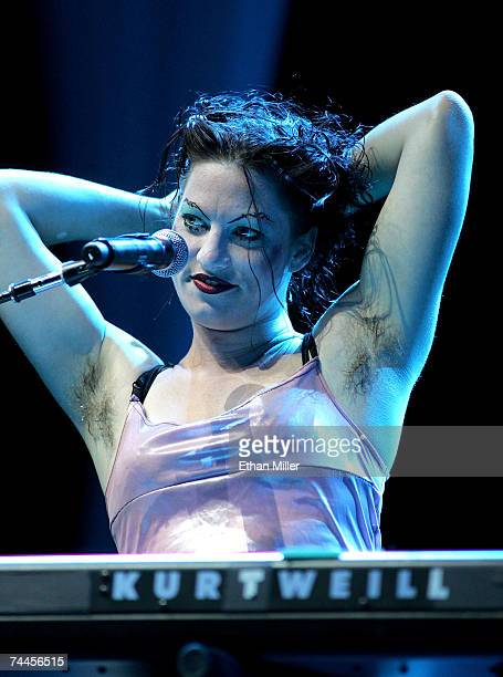 Singer/pianist Amanda Palmer from the band The Dresden Dolls performs during the kickoff of the first annual True Colors Tour at the MGM Grand Garden...