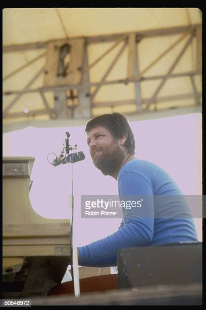 Singer/pianist Brian Wilson of the Beach Boys performing in concert in Central Park on September 1 1977 in New York City New York