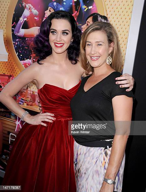 Singer/producer Katy Perry and Paramount Pictures' president of digital entertainment Amy Powell arrive at the premiere of 'Katy Perry Part Of Me' at...