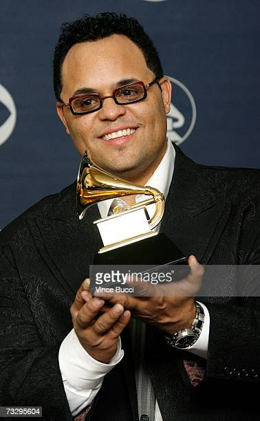 Singerr Israel Houghton poses with his Grammy for Best Traditional Gospel Album in the press room at the 49th Annual Grammy Awards at the Staples...