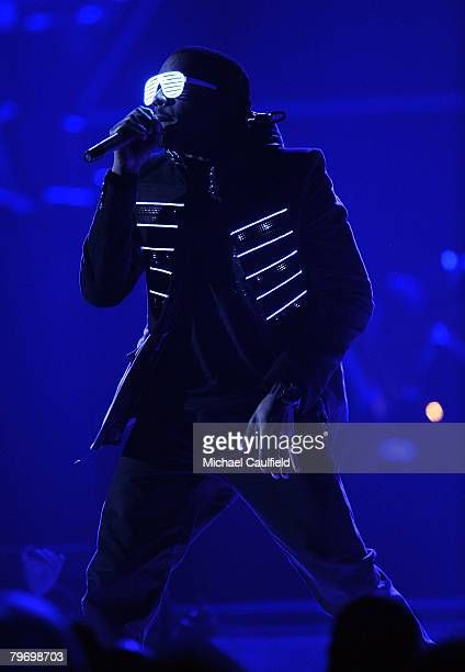 Singer/rapper Kanye West on stage at the 50th Annual GRAMMY Awards at the Staples Center on February 10 2008 in Los Angeles California