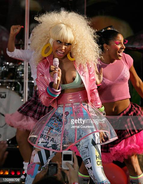 Singer/rapper Nicki Minaj performs on ABC's 'Good Morning America' at Rumsey Playfield Central Park on August 5 2011 in New York City