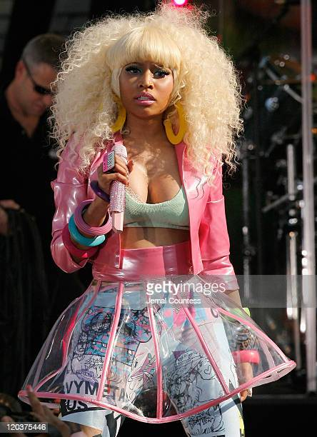 Singer/rapper Nicki Minaj performs on ABC's Good Morning America at Rumsey Playfield Central Park on August 5 2011 in New York City