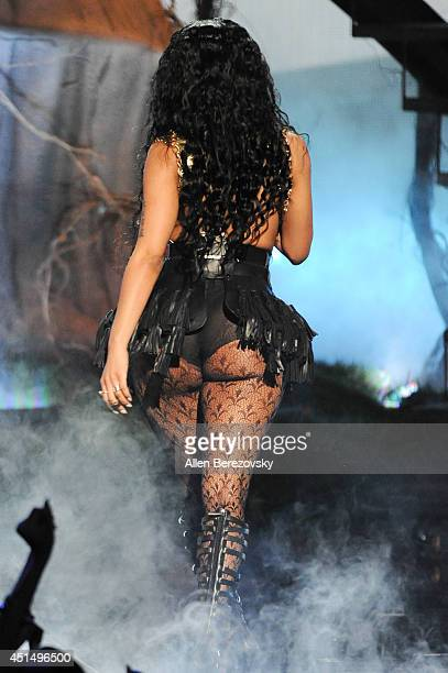 Singer/rapper Nicki Minaj performs onstage during the BET Awards '14 at Nokia Theatre LA Live on June 29 2014 in Los Angeles California