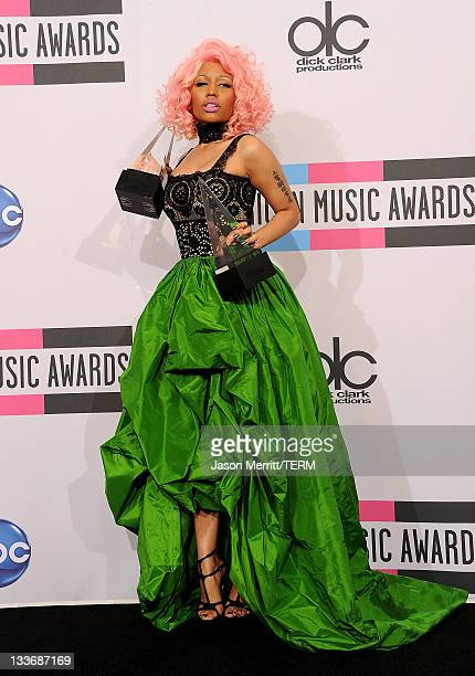Singer/rapper Nicki Minaj, winner of Favorite Rap/Hip-Hop Artist and Favorite Rap/Hip-Hop Album poses in the press room at the 2011 American Music...