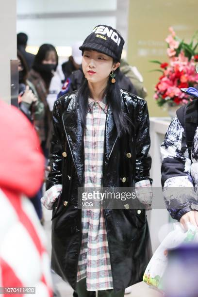 Singer/rapper Yamy of girl group Rocket Girls 101 is seen at an airport on November 20 2018 in Beijing China Girl group Rocket Girls 101 cancelled...