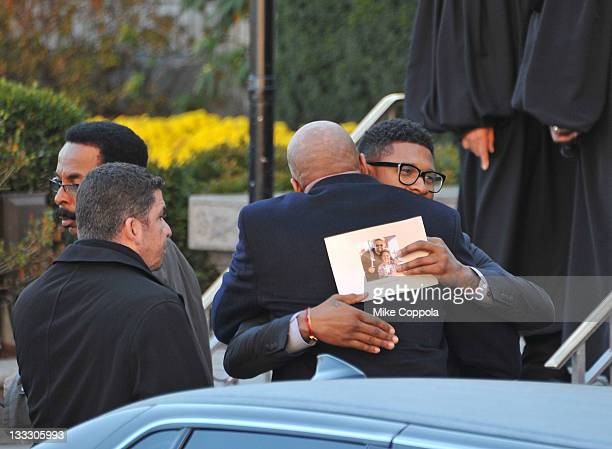 Singer/recording artist Usher attends the funeral service for Heavy D at Grace Baptist Church on November 18 2011 in Mount Vernon New York