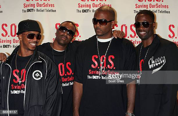 Singers 112 pose for a photo backstage during SOS The BET Relief Telethon to benefit the victims of hurricane Katrina at the BET Studios September 9...