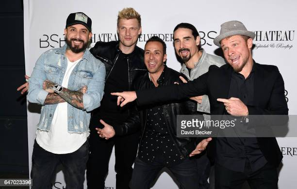 Singers A J McLean Nick Carter Howie Dorough Kevin Richardson and Brian Littrell of the Backstreet Boys attend the after party of the debut of the...