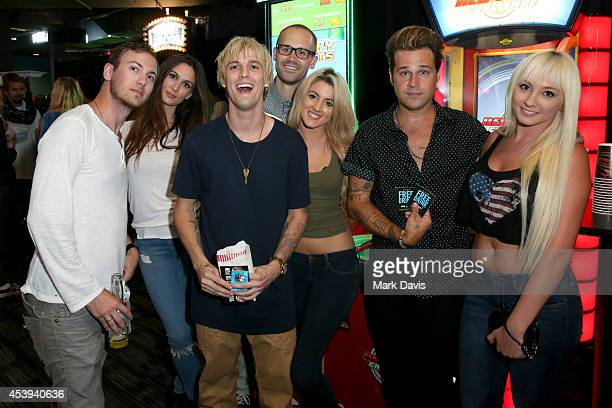 Singers Aaron Carter and Ryan Cabrera and guests attend Dave Buster's Hollywood Highland Grand Opening on August 21 2014 in Hollywood California