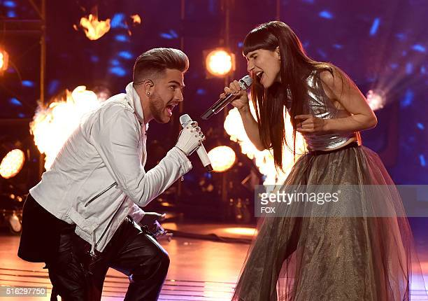 Singers Adam Lambert and Laleh perform onstage at FOX's American Idol Season 15 on March 17 2016 in Hollywood California