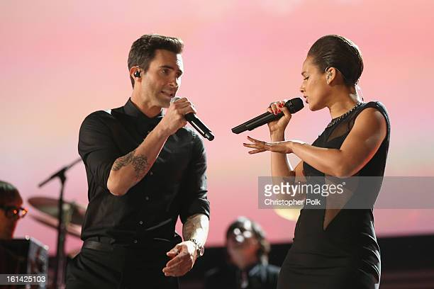 Singers Adam Levine and Alicia Keys perform onstage during the 55th Annual GRAMMY Awards at STAPLES Center on February 10 2013 in Los Angeles...