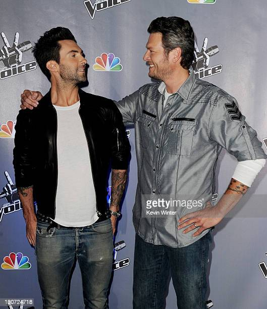 """Singers Adam Levine and Blake Shelton appear at a press junket for NBC's """"The Voice"""" at Sony Studios on October 28, 2011 in Culver City, California."""